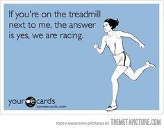 funny girl running treadmill
