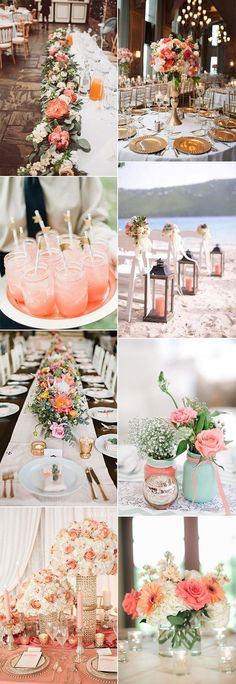 coral wedding decoration ideas for 2019 trends brauttisch, Pantone Color of the Year 26 Living Coral Wedding Ideas Coral Wedding Themes, Wedding Decorations On A Budget, Summer Wedding Colors, Wedding Color Schemes, Wedding Centerpieces, Wedding Table, Wedding Bouquets, Wedding Flowers, Wedding Cakes
