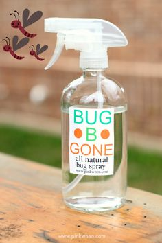 ALL NATURAL BUG SPRAY: 16 oz Glass Spray Bottle; Lemongrass Essential Oil; Citronella Essential Oil; Spearmint Essential Oil; Rosemary Essential Oil; 100% Natural Witch Hazel and water