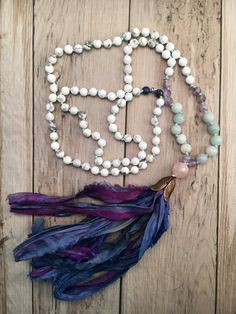 Gemstone Mala Necklace/Sari Silk Tassel/108 Mala Necklace/Mala