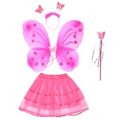 3pcs Halloween Cute Butterfly Wing + Headband + Fairy Wand Set Party DIY Cosplay Costume Ballet Dance Clothing For Fairy Kid p20 #Affiliate