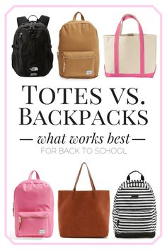 Backpacks // What Works Best in College Best Bags For College, Best Backpacks For College, College Tote, College Fun, Diy Handbag, Unique Purses, Kate Spade Purse, Vintage Purses, Casual Bags