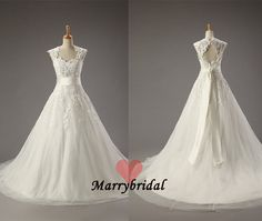 Stunning Sweetheart A-line Wedding Dress bridal gown, Lace applique Satin sash chapel train zipper back wedding dresses dots tulle, MB0002 on Etsy, $209.99