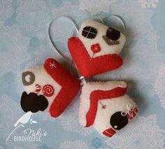 Christmas ornaments felt houses gingerbread door NikisBirdhouse