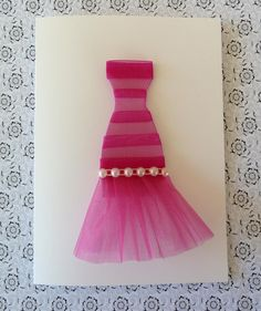 Beautiful Pink Organza Dress Mother's Day Card -  PERSONALIZE IT. $9.00, via Etsy.