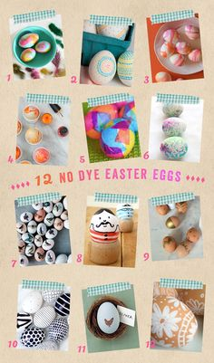 Here are twelve simple and gorgeous egg decorating ideas that don't involve any dye. These very cool techniques include the use of sharpies, watercolors, ti Spring Crafts For Kids, Craft Projects For Kids, Crafts For Kids To Make, Easter Projects, Art Projects, Easter Egg Dye, Easter Crafts For Kids, Easter Ideas, Kid Crafts