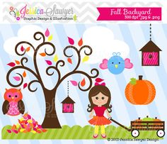INSTANT DOWNLOAD, fall backyard clipart, autumn clip art, for commercial use, personal use, scrapbooking, cards, crafts