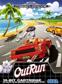 "Yu Suzuki's classic 1986 Sega arcade ""driving game"" puts players behind the wheel of a red convertible sports car on a trip through American- and European-inspired landscapes. Vintage Video Games, Classic Video Games, Retro Video Games, Vintage Games, Video Game Art, Retro Games, Sega Mega Drive, Mega Drive Games, Retro Arcade"