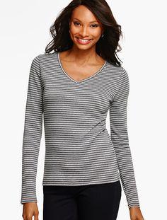 Long-Sleeve V-Neck Tee - Sparkle Stripes - Talbots