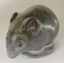 Vintage PIGEON FORGE Pottery Grey FIELD MOUSE Life Size Figurine USA