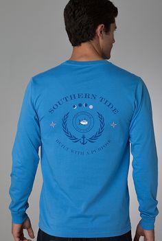 9238daae98c25 Long Sleeve Crest T-shirt in Blue Wave  SouthernTide  Skipjack  www.BellasBoutiqueBainbridge