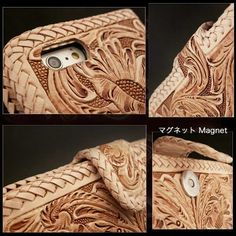Carved with hand tools to create a beautiful floral motif! Exceptional iPhone case!