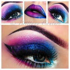 Love bright and bold Eye make-up Crazy Makeup, Cute Makeup, Pretty Makeup, Makeup Geek, Makeup Art, Makeup Tips, Beauty Makeup, Hair Makeup, Makeup Ideas