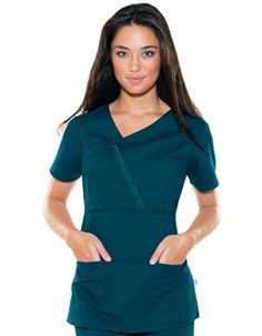 asymmetrical zip front mock wrap scrub top- Skechers. Because your dress code doesn't have to be boring