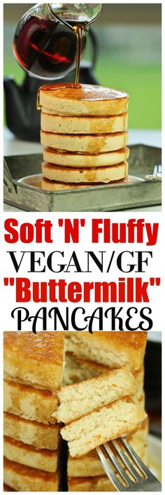 Unbelievably Soft 'N' Fluffy Gluten-Free Buttermilk Pancakes that are so impressive, nobody will believe they are vegan, gluten-free or made without any butter! Just 8 ingredients is all you need and throw everything into one bowl for easy prep. via @thevegan8
