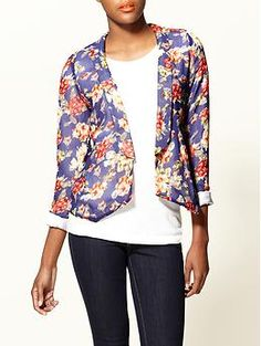 Love the updated large flower print and slight swing of the front - it would look smashing with jeans, a fine houndstooth, or stripes!