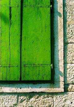 Closeup view of green wooden shutters and stone wall, Korcula town, Korcula island, Dalmatia, Croatia Green Life, Go Green, Green Colors, Green Eyes, Colours, Pretty Green, Kelly Green, Bright Green, World Of Color