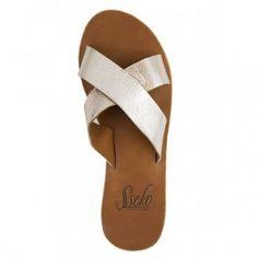5f2444eead0c Caramel   Gold Crossover Slide Sandal