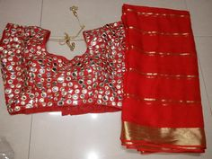 Georgette sarees with stitched Blouse | Buy Online Sarees | Elegant Fashion Wear