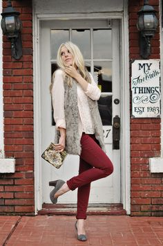 MUST get oxblood red Skinnies for fall!!   cute sister -pinkpistachio.com