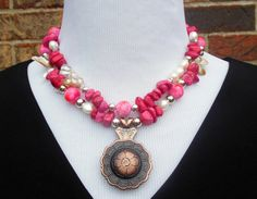 Statement Necklace  magnesite pink beads pearls by CopperTowneGems