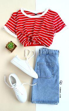 Red Striped Trim T-shirt