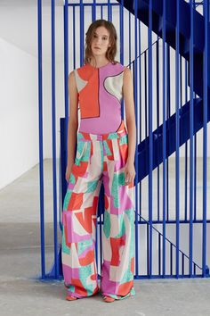 Cubist-influenced shapes and contrasting colours pattern the garments in this collection by London fashion brand Roksanda.