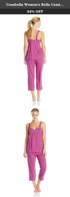 Cosabella Women's Bella Cami Capri Pajama Set, Persian Violet/Babylon Blue, Large. Sophisticated, feminine interpretation of classic men's pajama styles. Made in super soft pima cotton and modal, this group is finished with classic touches of satin binding at the bust pocket and lapel collar.