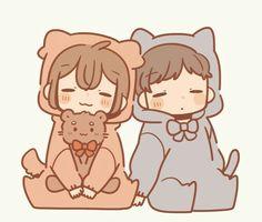 @Itsukiyu Cute Chibi Couple, Anime Love Couple, Cute Anime Couples, Loli Kawaii, Kawaii Art, Kawaii Anime, Kawaii Drawings, Cartoon Drawings, Cute Drawings