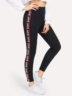 All Sporty Black Crop Length Contrast Letter Print Taped Side Leggings Mesh Yoga Leggings, Camouflage Leggings, Floral Leggings, Sports Leggings, Printed Leggings, Women's Leggings, Leggings Store, Cheap Leggings, Jeggings