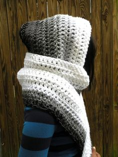 Super cozy, these hooded scarves will keep your head and ears warm without the inconvenience of hat hair. Whos likes hat hair anyways? Hooded Scarf Pattern, Crochet Hooded Scarf, Crochet Scarves, Crochet Shawl, Crochet Clothes, Basic Crochet Stitches, Easy Crochet, Free Crochet, Crochet Patterns