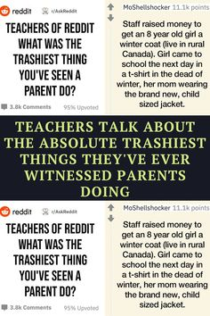 """Sometimes it's hard to focus on the negative but when a Reddit user asks, """"Teachers of Reddit, what's the trashiest thing you've seen a parent do?"""" You answer. Witty Jokes, Funny Corny Jokes, Punny Puns, Funny Disney Jokes, Dark Humor Jokes, Crazy Funny Memes, Sarcastic Humor, Really Funny Memes, Funny Facts"""