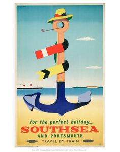 Poster, British Railways (Southern Region), For Happy Holidays Southsea and Portsmouth at Science and Society Picture Library. Available at Waterfront Gifts at Southsea Library Posters Uk, Railway Posters, Vintage Art Prints, Fine Art Prints, Vintage Advertisements, Vintage Ads, British Railways, National Railway Museum, Retro Poster
