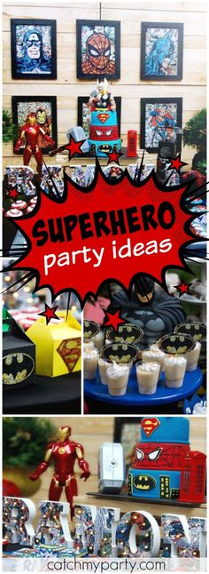 What an amazing superhero birthday party! See more party ideas at CatchMyParty.com!