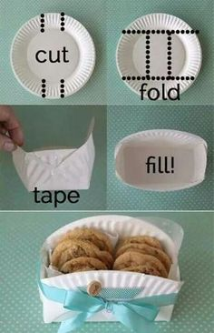 "Paper plate cookies holder- Great idea for a bake sale! Easy, cheap way to make ""bags"" by elma"