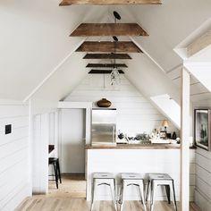 White paint. Wood beams. #kitchen #modern #rustic