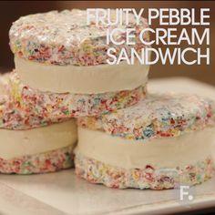 Fruity Pebble Ice Cream Sandwich yoooooooo
