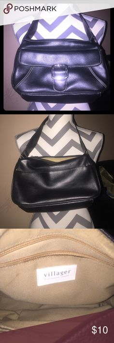 Villager By Liz Claiborne Bag Beautiful Black Villager by Liz Claiborne Shoulder bag! Has three separate Compartments very spacious measures 11X6X3 Villager byLiz Claiborne Bags Shoulder Bags