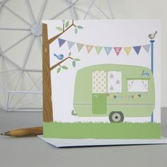 Personalised Vintage Caravan 30th 40th 50th 60th Birthday Card