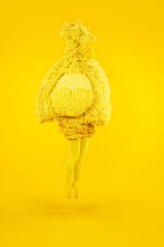 Yellow art performing photography contemporary art gallery installation artist Femke Agema