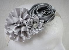 Silver Headband Baby Girl Headband Baby Flower by TheMomentWedding