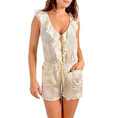 @Overstock - Perfect for any occasion, this Stanzino romper features a soft tie belted waist, a pullover design with a zippered front and two convenient front pockets. A V-neckline and ruffled details finish this stylish suit.http://www.overstock.com/Clothing-Shoes/Stanzino-Womens-Ivory-Ruffled-Sleeveless-Romper/6649875/product.html?CID=214117 $28.99