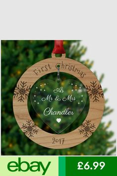 Mr Mrs First Christmas Married Couple Xmas Tree Decoration Ornament Bauble Gifts First Christmas Married, Christmas Couple, Christmas Gifts For Boyfriend, Diy Christmas Tree, 1st Christmas, Xmas Gifts, Personalised Christmas Decorations, Xmas Tree Decorations, Gravure Laser