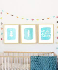 Blue Bird Collection Print Set, also available in pink/coral... would look GREAT over her crib...