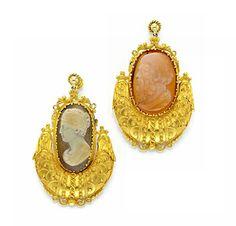 Rare & Vintage A Pair of Antique Gold and Cameo Ear Pendants, circa 19th Century  -  FD