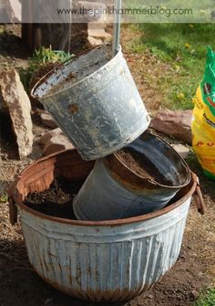 Primitive tipsy pot planters | DIY Rustic garden decor. | The Pink Hammer Blog #primitive #decor #diy