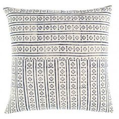 Hand block-printed pillow on cotton. Solid back with zipper closure. Down feather insert included. Machine-wash cold, separately, on delicate cycle, with mild detergent. Do not use bleach. Line-dry preferred. Bedding Shop, Linen Bedding, Bed Linen, Comforter, Moroccan Decor Living Room, White Pillows, Cotton Pillow, Pattern Making, Decorative Throw Pillows