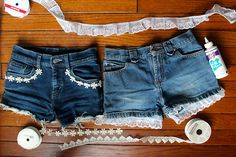 Spruce up your favourite denim shorts! #DIY #summer #fun