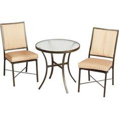 Mainstays Crossman 3-Piece Outdoor Bistro Set, Tan, Seats 2