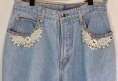 MOM Jeans 13-14 Womens Whooz Blooz Light Blue Studs Lace Trim Front Pockets  #WhoozBloozJeans #CasualPants